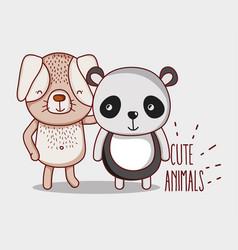 Dog and panda bear vector