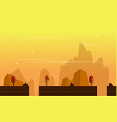 Game background with scenery at sunset vector