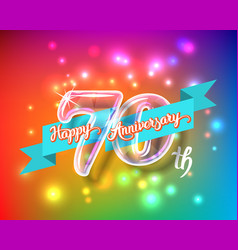 happy 70th anniversary glass bulb numbers set vector image vector image