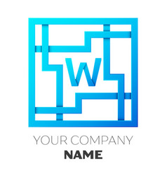 realistic letter w logo in colorful square maze vector image vector image