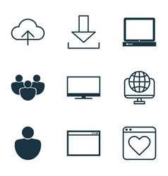 set of 9 world wide web icons includes followed vector image