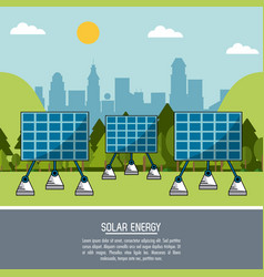 color landscape background solar energy panels vector image vector image