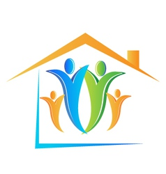 Family and house logo vector image vector image