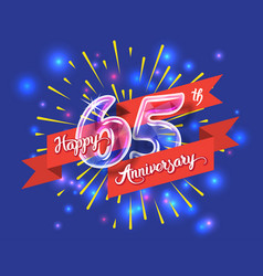 happy 65th anniversary glass bulb numbers set vector image