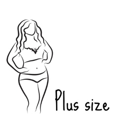 Plus size model woman sketch Hand drawing style vector image vector image