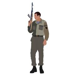 soldier holding machine gun vector image