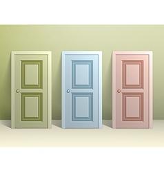 Three doors on the floor vector image