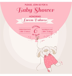 Baby Shower Card - Baby Bunny with Balloon vector image vector image
