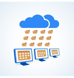 Copmutre desktop pc folder clouds icon vector