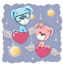 cute lovers dogs vector image vector image