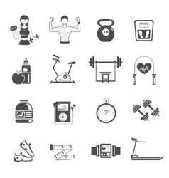 Gym Icon Black Set vector image