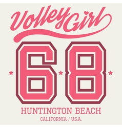 Volley Girl T-shirt Typography vector image