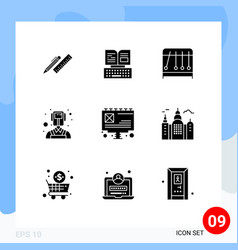 9 user interface solid glyph pack modern signs vector