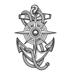 Anchor with compass engraving vector