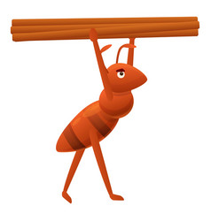 Ant carry wood icon cartoon style vector