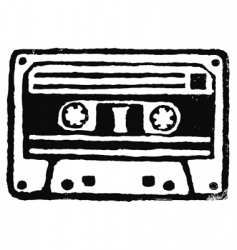 audio cassette stamp vector image