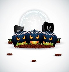 background to halloween with funny pumpkins vector image