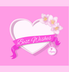 best wishes 4 you greeting card design with heart vector image