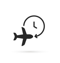 Black air plane with timer icon vector
