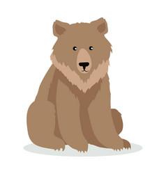 brown bear cartoon in flat design vector image