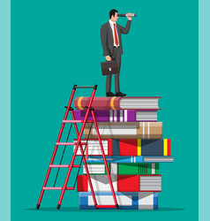 businessman looking through spyglass on books vector image