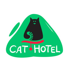 cat hotel banner with cute black kitten with vector image