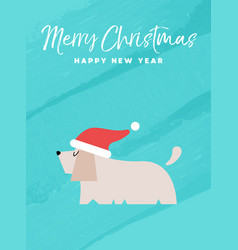 christmas and new year holiday dog greeting card vector image