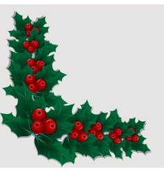 Christmas decorative corner element with holly vector image