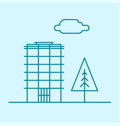 city thin line office building with tree and vector image