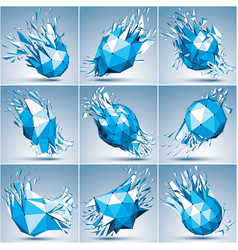 Collection 3d faceted blue cybernetic figures vector