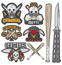 Collection gang and criminal badges vector