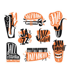 collection of jazz music lettering written with vector image