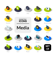 color icons set in flat isometric vector image