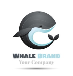 Colorful 3d Volume Logo Design whale icon symbol vector image