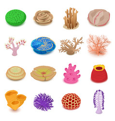 coral reef icons set isometric style vector image