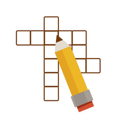 crossword puzzle and pencil intellectual game vector image