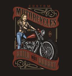 Custom motorcycle colorful vintage print vector
