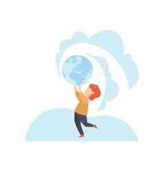cute boy holding earthl globe over his head vector image