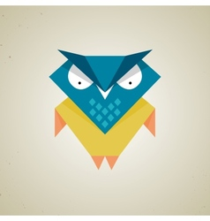 Cute little blue and yellow cartoon owl vector image