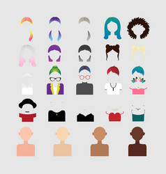 Elements to create the character of the girl vector