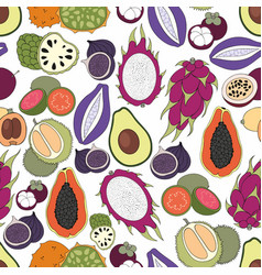 exotic fruits seamless pattern vector image