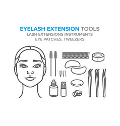 Eyelash extension tools eye patches tweezers vector