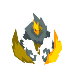 Fantasy mystic fire stone elemental monster vector