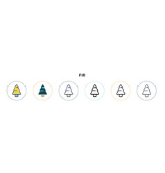 Fir icon in filled thin line outline and stroke vector