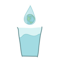 glass of water with a drop of water with globe vector image