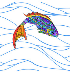 hand drawn stylized sea fish zen-doodle style vector image