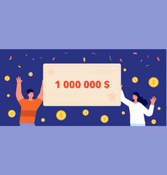 happy lottery winners guy win adult holding cash vector image