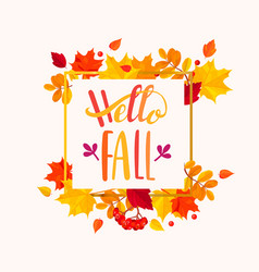 hello fall lettering in autumn leaves frame vector image vector image