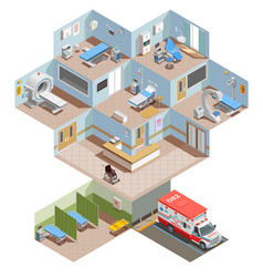 hospital rooms isometric composition vector image