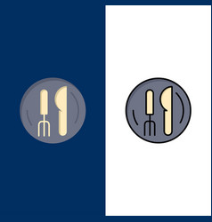 Hotel service knife plate icons flat and line vector